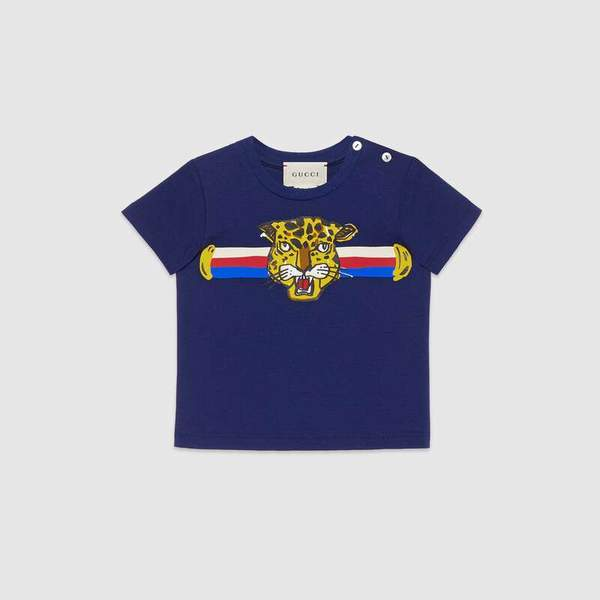 Baby Boys Blue Tiger Cotton T-shirt