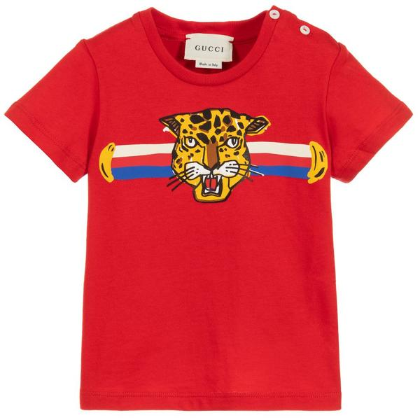 Baby Boys Red Tiger Cotton T-shirt