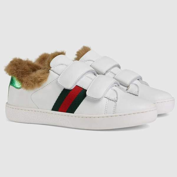 Boys & Girls White Striped Leather Shoes