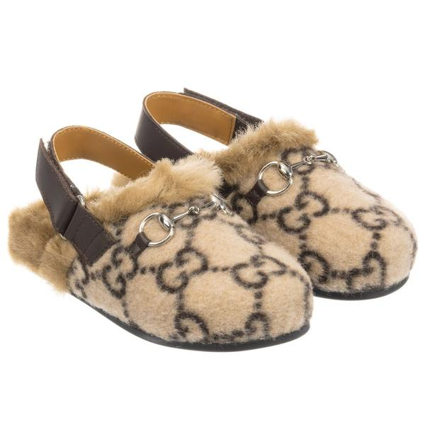 Girls Beige GG Faux Fur Shoes