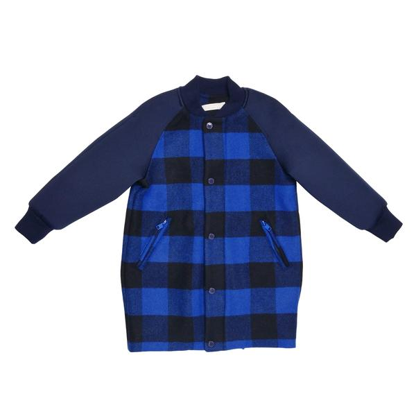 Girls Blue Check Cotton 'Renae' Coat - CÉMAROSE | Children's Fashion Store