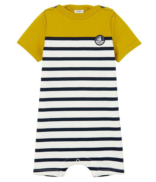 Baby Boys Yellow & White Striped Babysuits