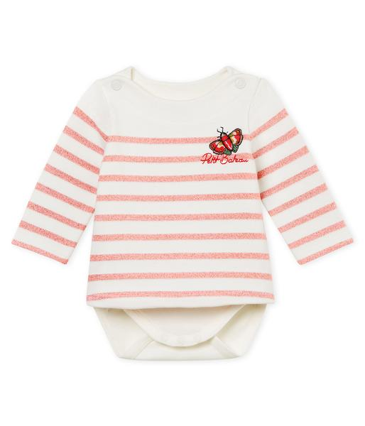 Baby Girls Pink & White Cotton Babysuits