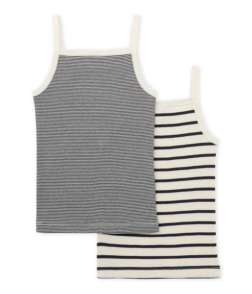 Girls Black & Beige Cotton Vest Sets