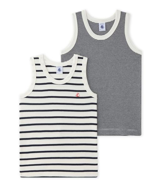 Boys White & Black Cotton Vest Sets
