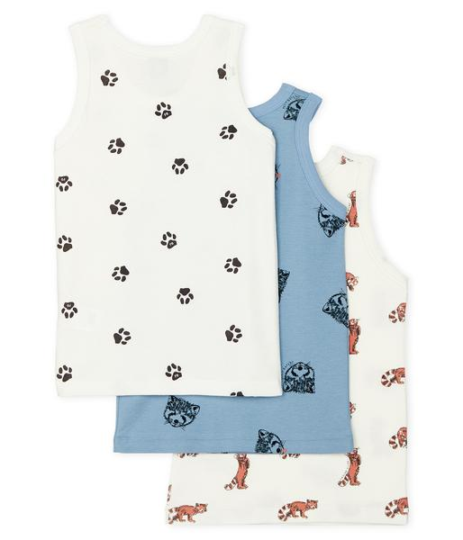 Boys White & Blue Cotton Vest Sets