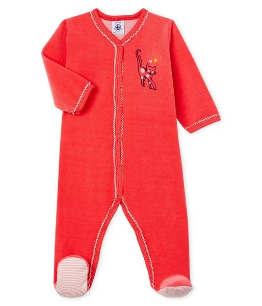 Baby Girls Red Cotton Jumpsuit