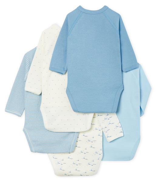 Baby Boys White & Blue Cotton Sets