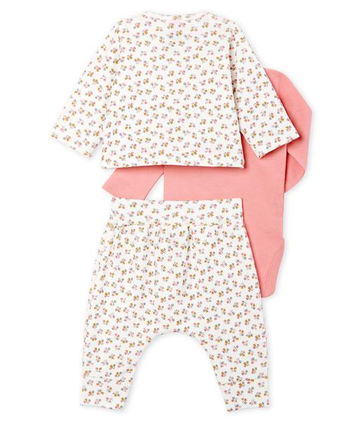 Baby Girls Beige & Pink Printing Cotton Sets