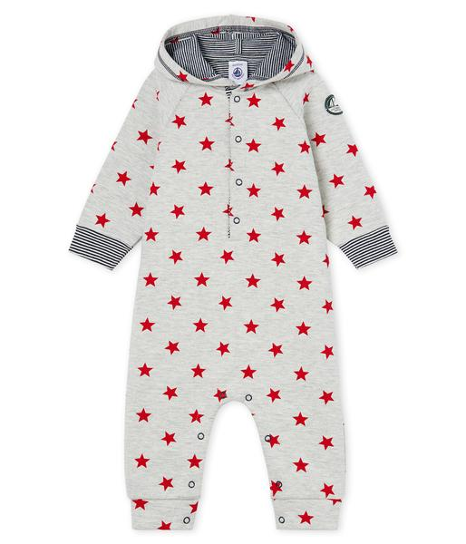 Baby Boys Grey Star Cotton Jumpsuit