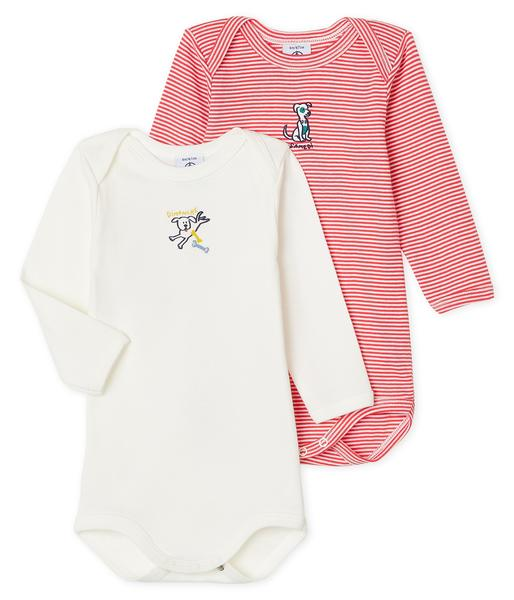 Baby Boys White & Red Cotton Set
