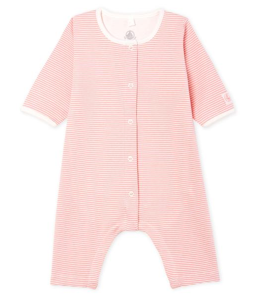 Baby Girls Pink Striped Cotton Babysuits