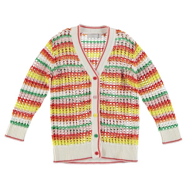 Girls Multicolor Hollow Knit Cardigan