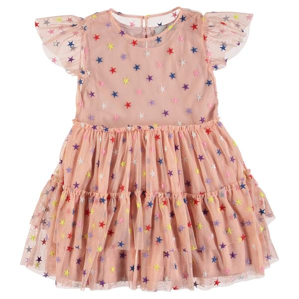 Girls Pink Multicolor Stars Dress