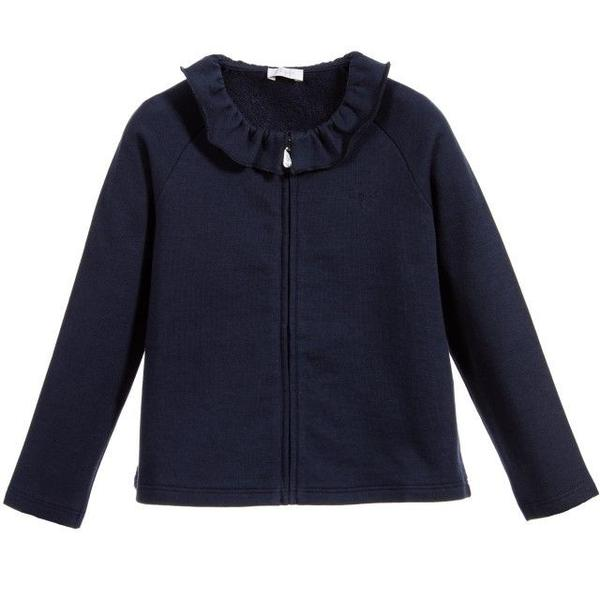 Girls Navy Blue Jacket With Frill Collar - CÉMAROSE | Children's Fashion Store