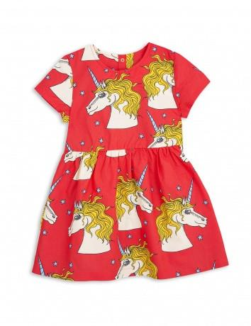Girls Red Unicorn Star Woven Dress