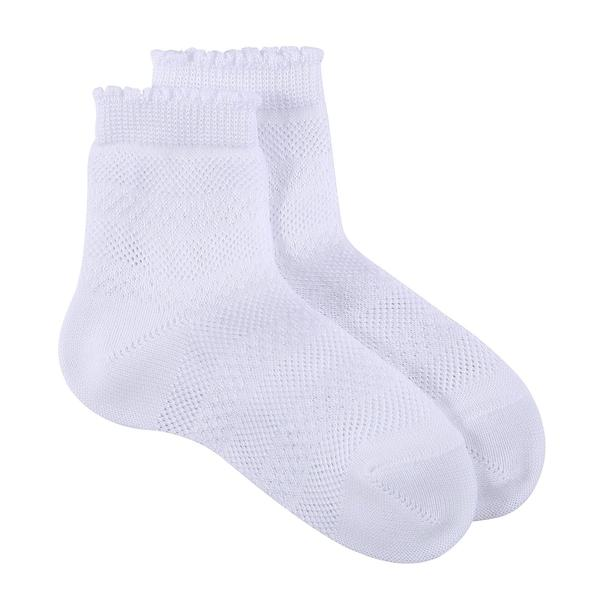 Girls White Hollow Cotton Short Socks - CÉMAROSE | Children's Fashion Store