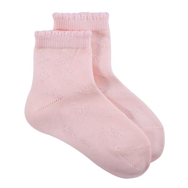 Girls Pink Hollow Pattern Cotton Short Socks - CÉMAROSE | Children's Fashion Store