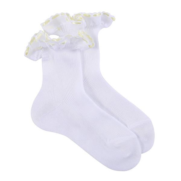Girls White Cotton Short Socks With Yellow Strap Ankle - CÉMAROSE | Children's Fashion Store