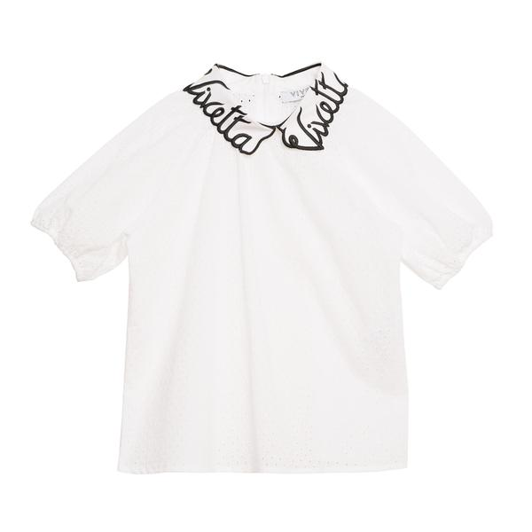 Girls White Collar And Embroidery Cotton Woven Shirt