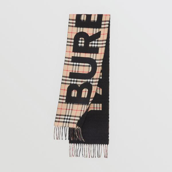 Boys & Girls Beige Check Wool Scarf
