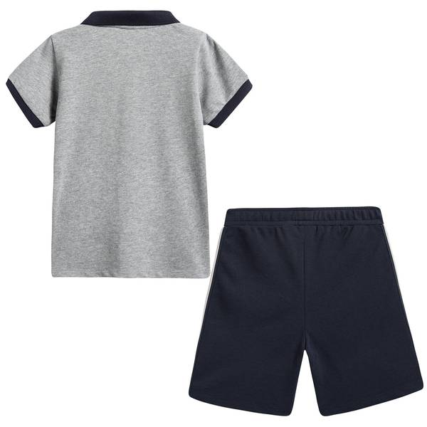Boys Grey Cotton Polo Outfit