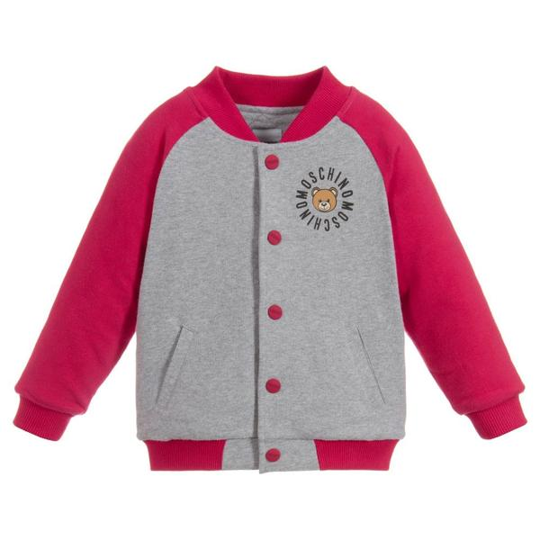 Baby Girls Grey & Red Cotton Cardigan