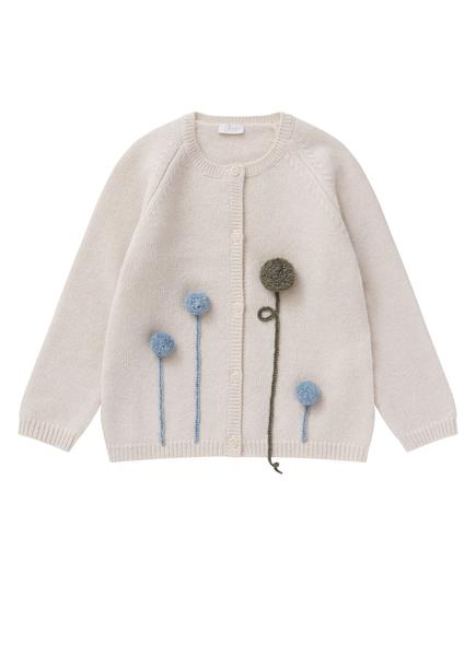 Girls Beige & Blue Wool Cardigan