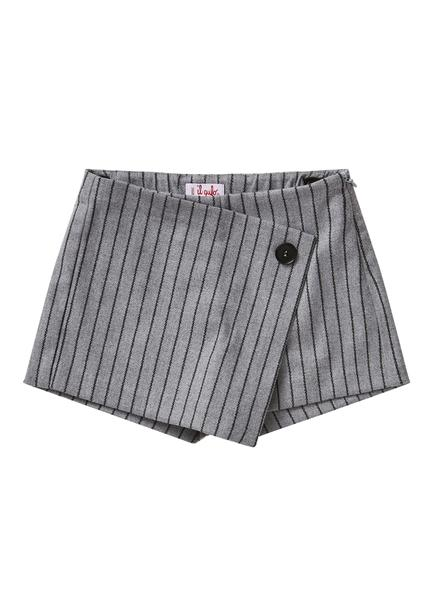Girls Grey & Black Striped Shorts