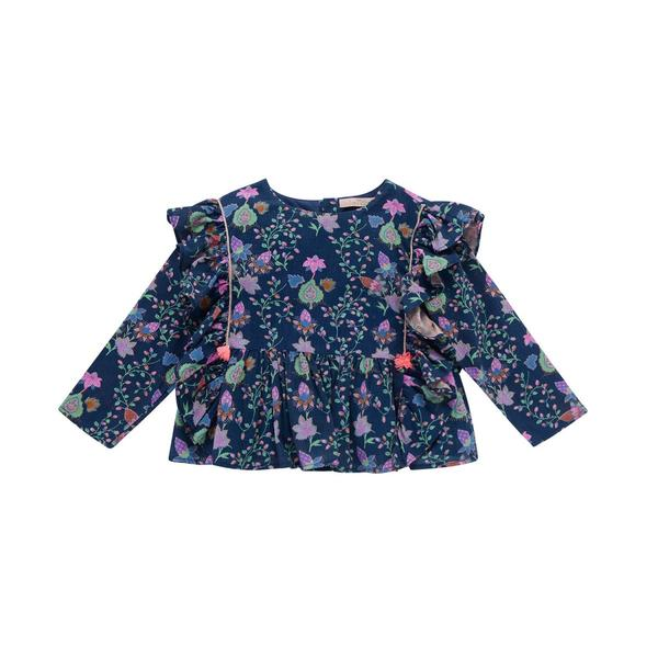 Girls Blue Pine Cone Cotton Blouse