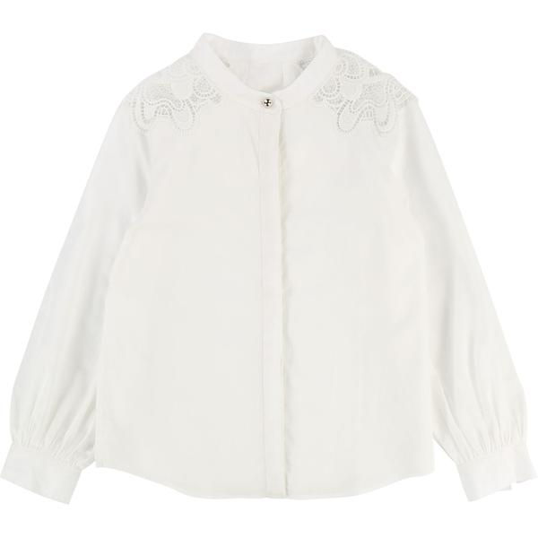 Baby Girls Off White Cotton Shirt