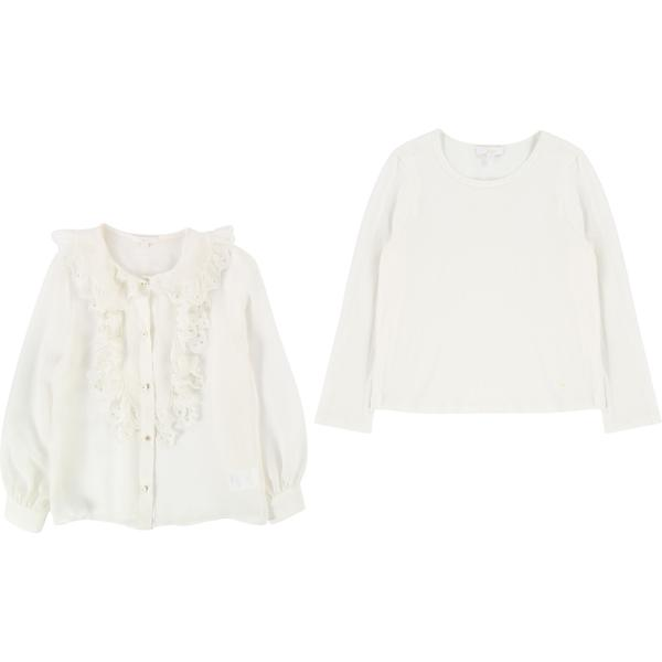 Girls Off White Soie Blouse