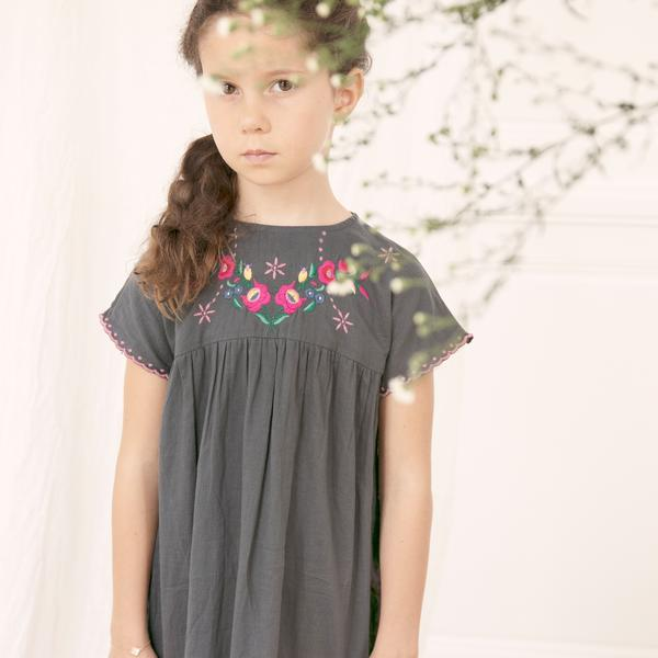 Girls Carbon Printed Cotton Dress