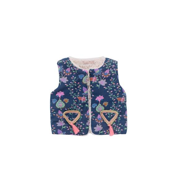 Girls Blue Pine Cone Cotton Gilet