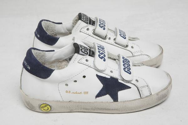 Baby Boys & Girls White & Blue Star Leather Shoes