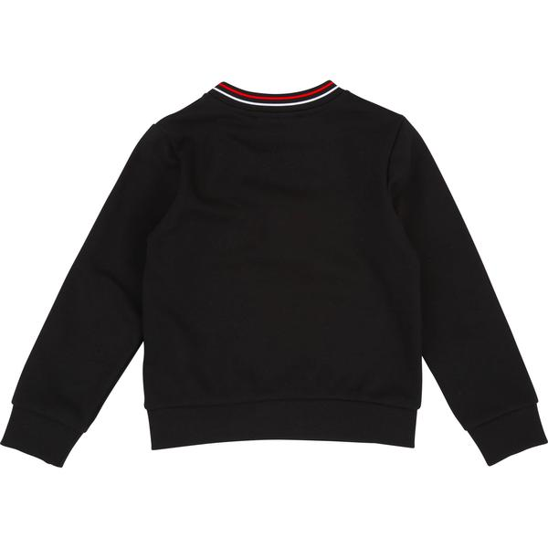 Girls Black Logo Cotton Sweater