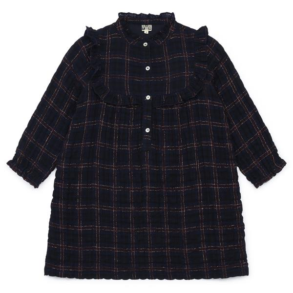 Girls Dark Blue Check Cotton Dress