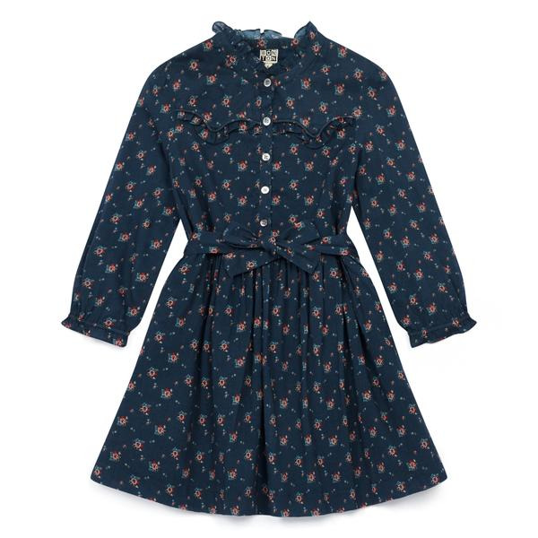 Girls Blue Floral Cotton Dress