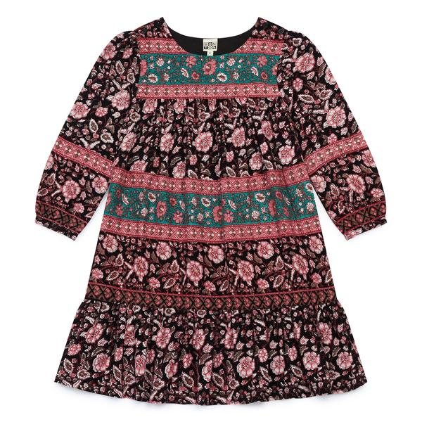 Girls Black & Pink Printing Cotton Dress