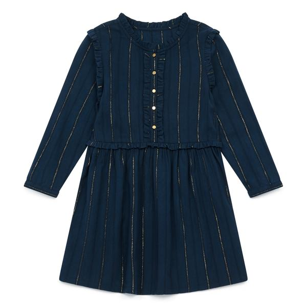 Girls Blue Waist Cotton Dress