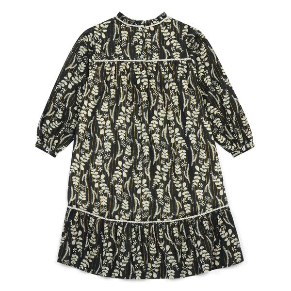 Girls Dark Blue Printing Cotton Dress