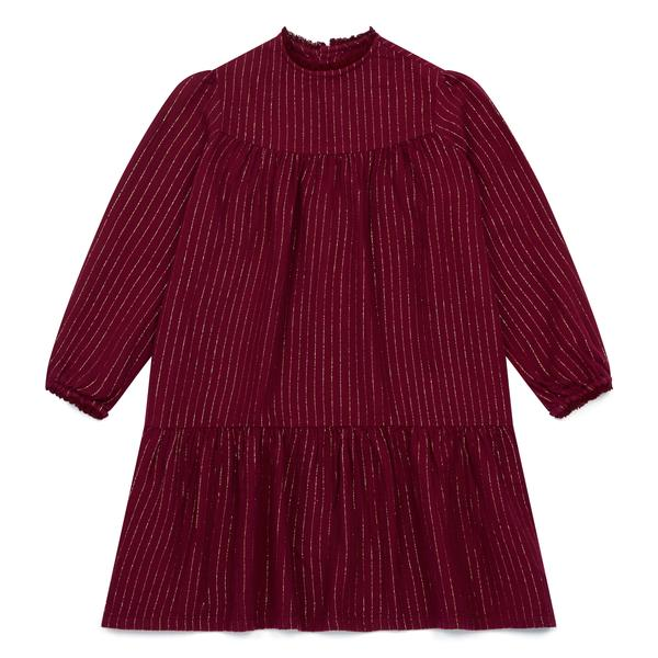 Girls Dark Red Cotton Dress