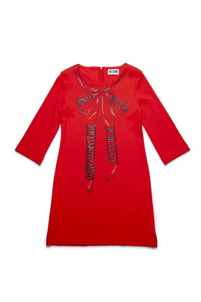 Girls Red Printing Bow-knot Dress