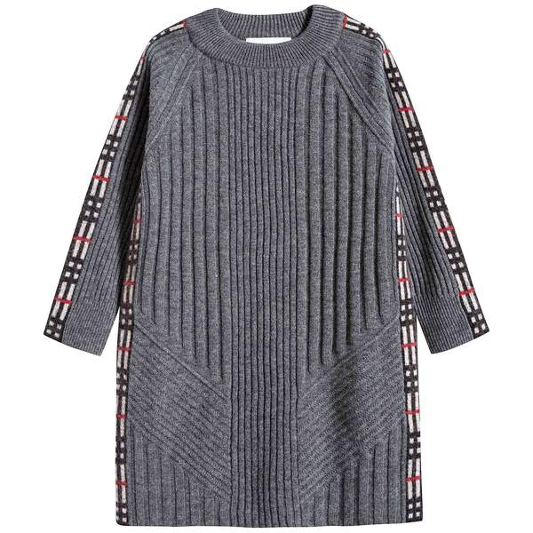 Girls Grey Melange Wool Dress