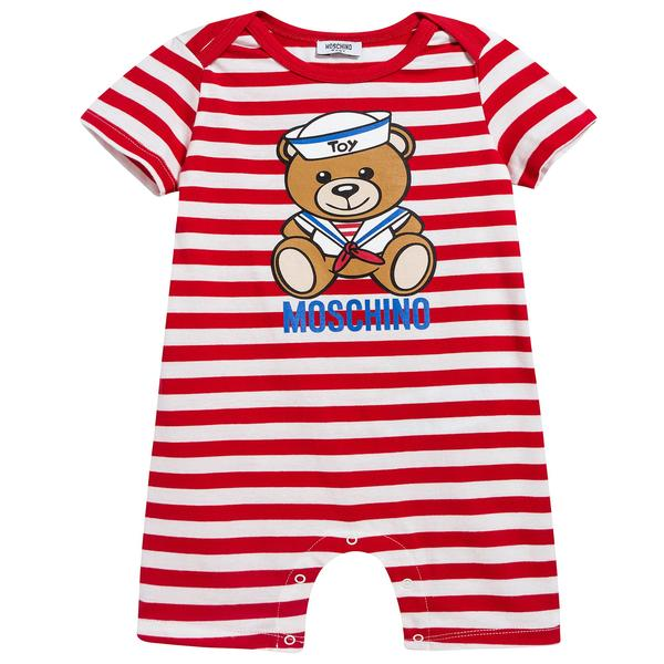 Baby Girls Red Stripes Cotton Teddy Bear Babysuit