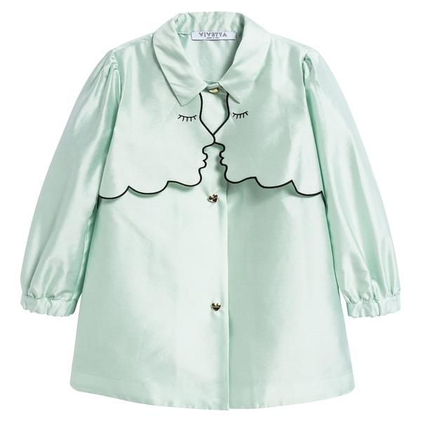 Girls Mint Green Collar And Embroidery Cotton Dustcoat