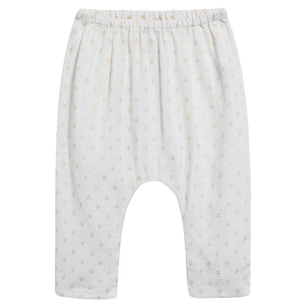 Baby Girls Off White Couche Gold Dots Cotton Trousers