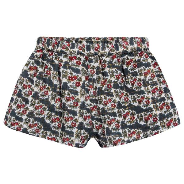Girls Multicolor Indian Flowers Cotton Shorts
