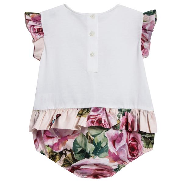 Baby Girls Lvory & Pink Roses Shortie