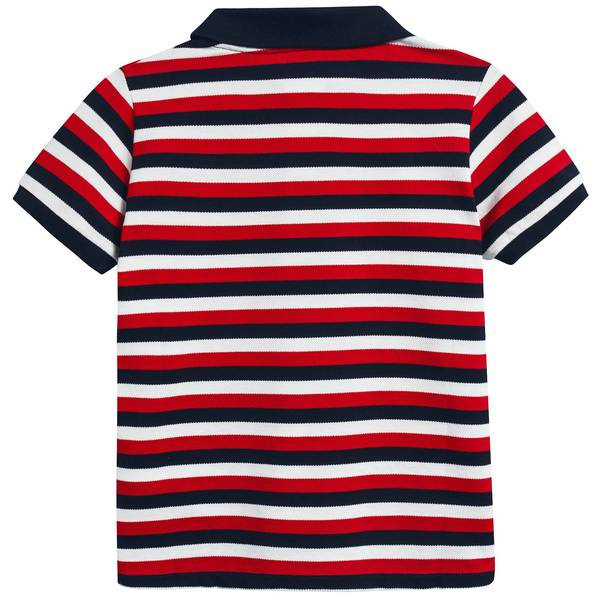 Boys Red & Navy Striped Cotton Polo Shirt